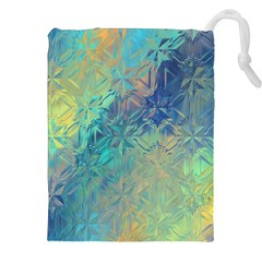 Colorful Patterned Glass Texture Background Drawstring Pouches (xxl) by Simbadda