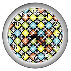 Diamond Argyle Pattern Colorful Diamonds On Argyle Style Wall Clocks (silver)  by Simbadda
