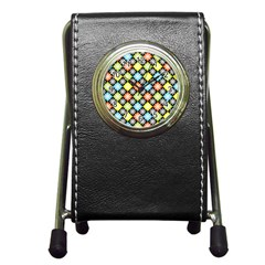 Diamond Argyle Pattern Colorful Diamonds On Argyle Style Pen Holder Desk Clocks by Simbadda