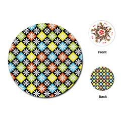 Diamond Argyle Pattern Colorful Diamonds On Argyle Style Playing Cards (round)  by Simbadda