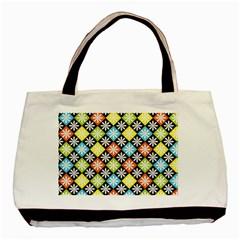 Diamond Argyle Pattern Colorful Diamonds On Argyle Style Basic Tote Bag by Simbadda