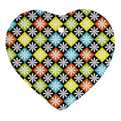 Diamond Argyle Pattern Colorful Diamonds On Argyle Style Heart Ornament (two Sides) by Simbadda