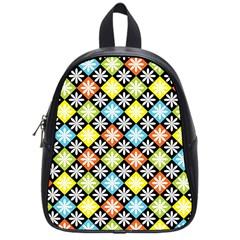 Diamond Argyle Pattern Colorful Diamonds On Argyle Style School Bags (small)  by Simbadda