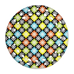 Diamond Argyle Pattern Colorful Diamonds On Argyle Style Ornament (round Filigree) by Simbadda