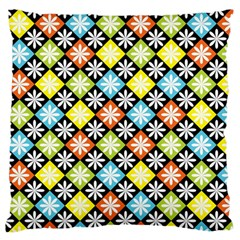 Diamond Argyle Pattern Colorful Diamonds On Argyle Style Large Flano Cushion Case (two Sides) by Simbadda