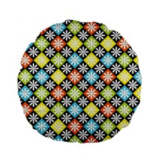 Diamond Argyle Pattern Colorful Diamonds On Argyle Style Standard 15  Premium Flano Round Cushions by Simbadda