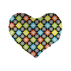 Diamond Argyle Pattern Colorful Diamonds On Argyle Style Standard 16  Premium Flano Heart Shape Cushions by Simbadda