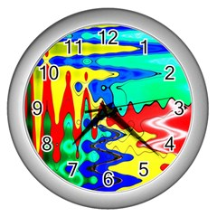 Bright Colours Abstract Wall Clocks (silver)  by Simbadda