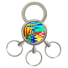 Bright Colours Abstract 3 Ring Key Chains by Simbadda
