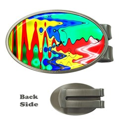 Bright Colours Abstract Money Clips (oval)  by Simbadda