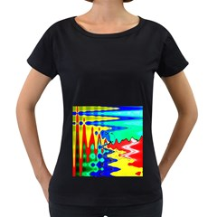 Bright Colours Abstract Women s Loose-Fit T-Shirt (Black) by Simbadda