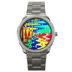 Bright Colours Abstract Sport Metal Watch by Simbadda