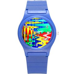 Bright Colours Abstract Round Plastic Sport Watch (s) by Simbadda