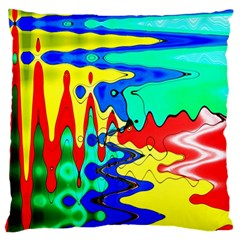 Bright Colours Abstract Large Cushion Case (one Side) by Simbadda