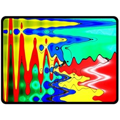 Bright Colours Abstract Double Sided Fleece Blanket (large)  by Simbadda