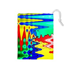 Bright Colours Abstract Drawstring Pouches (medium)  by Simbadda