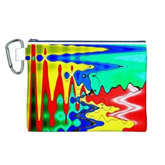 Bright Colours Abstract Canvas Cosmetic Bag (l) by Simbadda