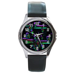 Digital Painting Colorful Colors Light Round Metal Watch