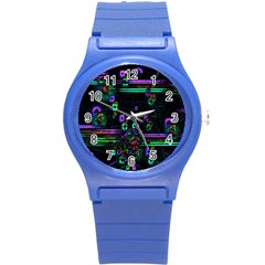 Digital Painting Colorful Colors Light Round Plastic Sport Watch (s) by Simbadda