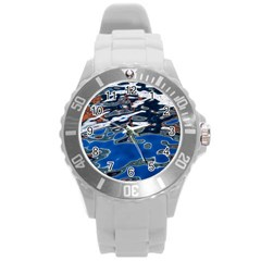Colorful Reflections In Water Round Plastic Sport Watch (l) by Simbadda