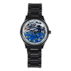 Colorful Reflections In Water Stainless Steel Round Watch by Simbadda