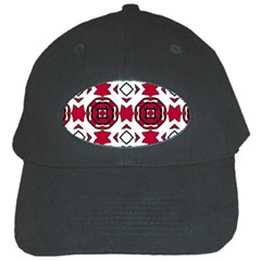 Seamless Abstract Pattern With Red Elements Background Black Cap by Simbadda