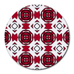 Seamless Abstract Pattern With Red Elements Background Round Mousepads by Simbadda