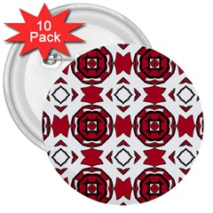 Seamless Abstract Pattern With Red Elements Background 3  Buttons (10 Pack)  by Simbadda