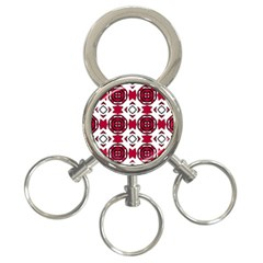 Seamless Abstract Pattern With Red Elements Background 3 Ring Key Chains by Simbadda