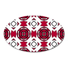 Seamless Abstract Pattern With Red Elements Background Oval Magnet