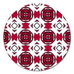 Seamless Abstract Pattern With Red Elements Background Magnet 5  (round) by Simbadda