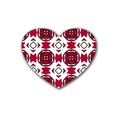 Seamless Abstract Pattern With Red Elements Background Rubber Coaster (heart)  by Simbadda