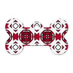 Seamless Abstract Pattern With Red Elements Background Dog Tag Bone (one Side) by Simbadda