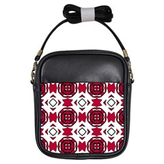 Seamless Abstract Pattern With Red Elements Background Girls Sling Bags by Simbadda