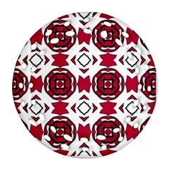 Seamless Abstract Pattern With Red Elements Background Round Filigree Ornament (two Sides) by Simbadda