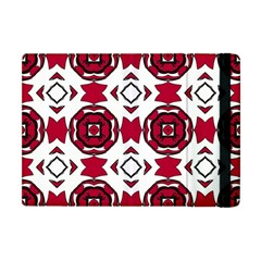 Seamless Abstract Pattern With Red Elements Background Apple Ipad Mini Flip Case by Simbadda