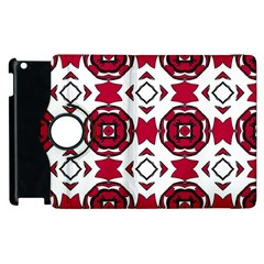 Seamless Abstract Pattern With Red Elements Background Apple Ipad 2 Flip 360 Case by Simbadda