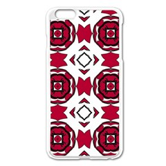 Seamless Abstract Pattern With Red Elements Background Apple Iphone 6 Plus/6s Plus Enamel White Case by Simbadda