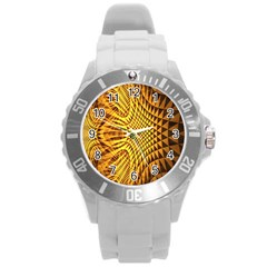 Patterned Wallpapers Round Plastic Sport Watch (l) by Simbadda