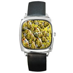 Melting Gold Drops Brighten Version Abstract Pattern Revised Edition Square Metal Watch by Simbadda