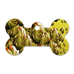 Melting Gold Drops Brighten Version Abstract Pattern Revised Edition Dog Tag Bone (two Sides) by Simbadda