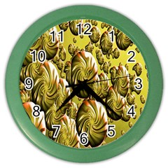 Melting Gold Drops Brighten Version Abstract Pattern Revised Edition Color Wall Clocks by Simbadda