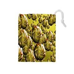 Melting Gold Drops Brighten Version Abstract Pattern Revised Edition Drawstring Pouches (medium)  by Simbadda