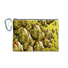 Melting Gold Drops Brighten Version Abstract Pattern Revised Edition Canvas Cosmetic Bag (m) by Simbadda