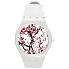 Tree Art Artistic Abstract Background Round Plastic Sport Watch (m) by Simbadda