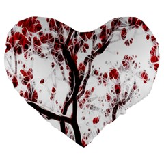 Tree Art Artistic Abstract Background Large 19  Premium Heart Shape Cushions by Simbadda