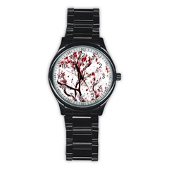 Tree Art Artistic Abstract Background Stainless Steel Round Watch by Simbadda