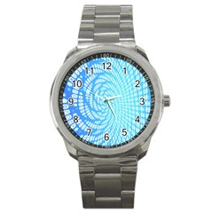 Abstract Pattern Neon Glow Background Sport Metal Watch by Simbadda