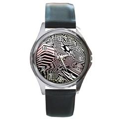 Abstract Fauna Pattern When Zebra And Giraffe Melt Together Round Metal Watch