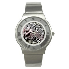 Abstract Fauna Pattern When Zebra And Giraffe Melt Together Stainless Steel Watch by Simbadda